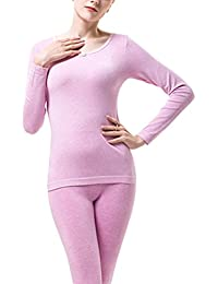 Zhhlinyuan Women's Soft Top & Bottom Delgado Thin Long Sleeve Crew Neck Thermal Underwear Set