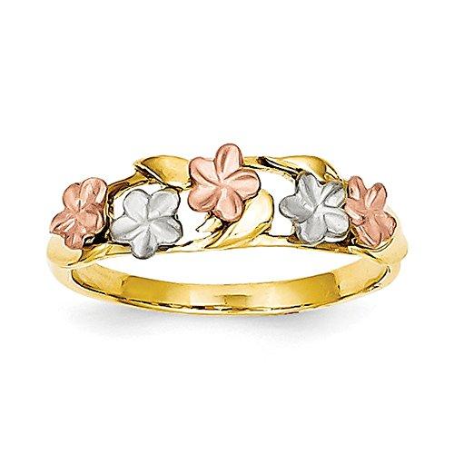 Plumeria-ring (14K Dreifarbige Gold Tricolor Plumeria Ring k5127Gr. 7)