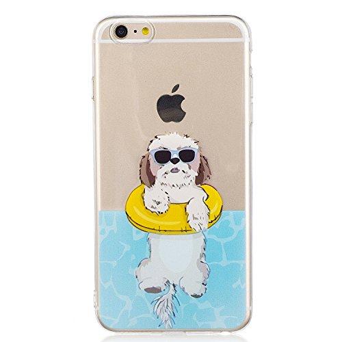 iphone 6 Plus Hülle, E-Lush TPU Soft Silikon Tasche Transparent Schale Clear Klar Hanytasche für iphone 6 Plus (5.5 Zoll) Durchsichtig Rückschale Ultra Slim Thin Dünne Schutzhülle Weiche Flexibel Hand weißer Hund