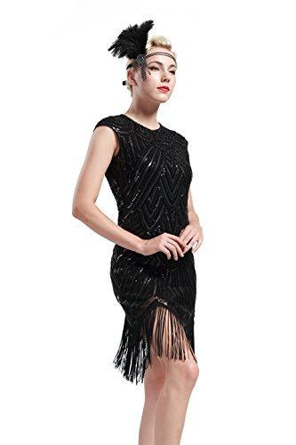 voller Pailletten 20er Stil Runder Ausschnitt Inspiriert von Great Gatsby Kostüm Kleid  (M (Fits 72-82 cm Waist & 90-100 cm Hips), Schwarz) (Schwarzes Flapper Halloween Kostüme)