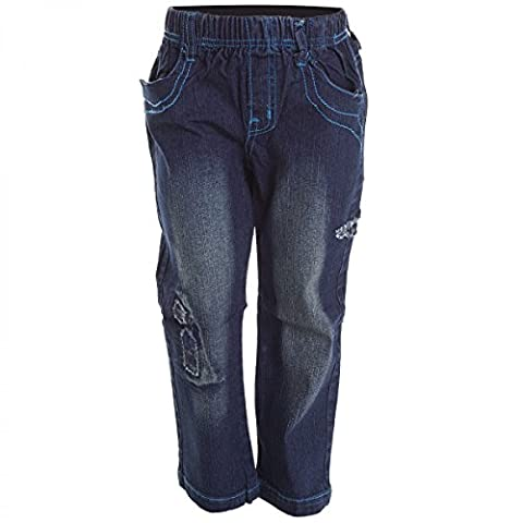 Mädchen Jeans Hose Regular Stil Clubwear Straight Fit Herbst Winter Hose H2104, Farbe:Blau;Größe:128
