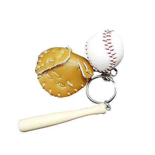Dosige 1 Piezas Bolso creativo de la cadena del llavero colgante de béisbol ventiladores suministros regalos memorabilia de los deportes Personalidad de la Moda Llavero Caqui 11*7.5*3.5cm