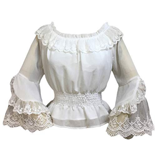 Yying Damen Chiffon Rüschen Bluse Lolita Steampunk Schlauchoberseite Glocke Ärmel Hemd -