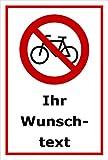 Schild - Fahr-rad Fahr-räder verboten - Wunsch-text - 15x10cm mit Bohrlöchern | stabile 3mm starke PVC Hartschaumplatte – S00050-002-B +++ in 20 Varianten erhältlich