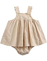 Conquro Verano Ropa de bebé Fresca Niñas Bebé Correa sin Mangas Color sólido Una Pieza Vestido