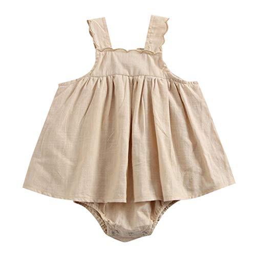 Ansenesna Baby Mädchen Strampler Sommer Einfarbig Elegant Spielanzug Kleidung Mädchen Ärmellos Träger Kleidung