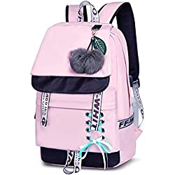 Asge Femme Sac à Dos Unisexe Loisir Backpack Garçons école Sacs Filles Mignon Cartable Nylon Imperméable Daypacks Adulte Fashion Décontracté Bag College Pack (Rose)