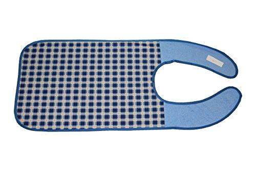 ZOLLNER® Erwachsenenlätzchen/ Esslätzchen / Kleiderschutz mit verstärkten Durchsteckverschluss wasserdicht dunkelblau-kariert, direkt vom Hotelwäschehersteller, Serie
