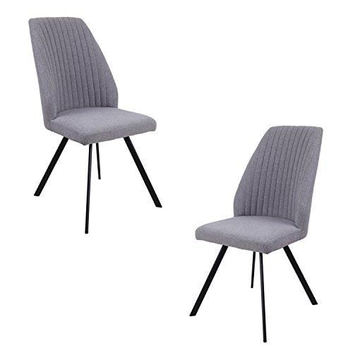 Meubletmoi Lot 2 chaises Salle à Manger Design - Assise Grise Confort Tissu Doux - Fabrication Haute qualité - FUZO