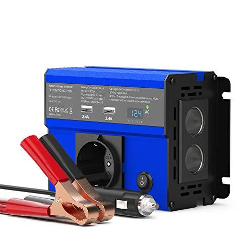 CHGeek 300W Auto Wechselrichter DC 12V auf AC 220V Inverter KFZ Spannungswandler Wechselrichter mit EU Steckdose, 4.8A Dual USB Ladegerät und 2 Zigarettenanzünder für Phones, Tablet and More