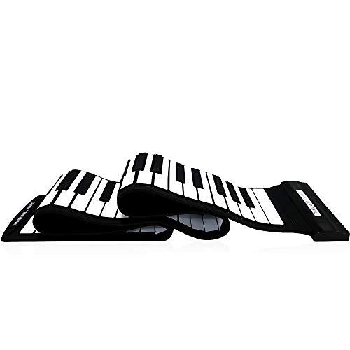 Exquisit USB 88 Tasten MIDI Aufrollen Elektronische Klaviertastatur Silikon Flexible Professionelle Musikinstrumente (Farbe: Schwarzweiß)