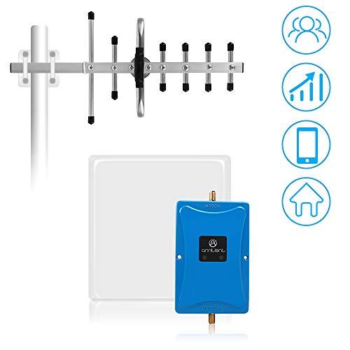 ANNTLENT GSM Verstärker 2G / 4G Dual-Band-Signalverstärker 900/2600 MHz Band 8/ Band 7 70dB Handy Signalverstärker Kit für Hause, Büro (Panel + Yagi-Antenne)