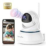 Wansview WLAN IP Kamera, Überwachungskamera 1080P HD mit Schwenk- und Neige, 2-Wege Audio und Nachtsicht Sicherheitskamera Home Indoor-Kamera für Haustier und Baby Monitor Q3S Weiß
