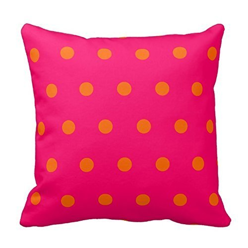 Orange and Hot Pink Polka Dots Design Throw Pillow Cover Case Decorative Square for Home Sofa 18X18 Inches
