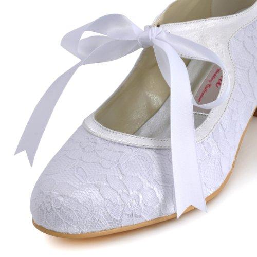 Elegantpark A3039 Damenschuhe Pumps Runde Zehen Lace Hochzeit Brautschuhe Weiß