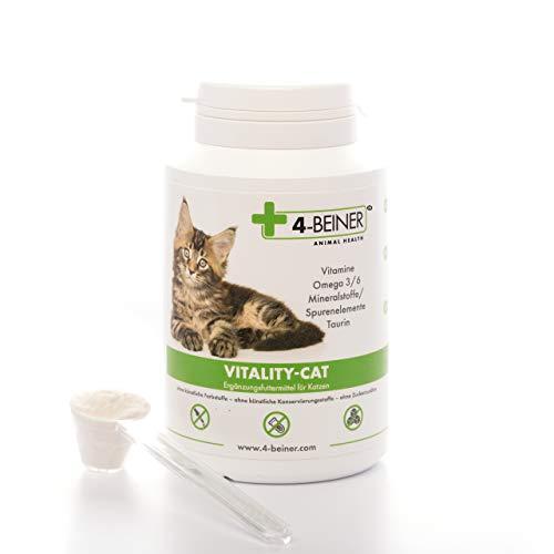 4-Beiner Vitality-Cat, Katzen Vitamine + Omega 3/6 + Zink, Selen, Mangan, Kupfer, Eisen, Taurin, Multivitamin-Pulver für Katzen auch ideale Nahrungsergänzung bei Barf Fütterung (Barfen), 90 g Pulver