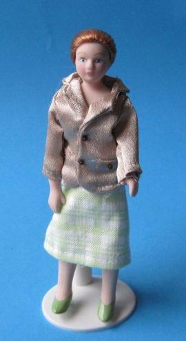 Frau im eleganten Kostüm Puppe für die Puppenstube Miniatur (Puppe Kostüm Porzellan)