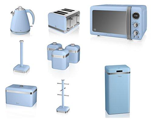 Swan Blue Kitchen Appliance Retro Set Of 10 - Blue Retro Digital Microwave, 20 Litre, 800 Watt, 1.5 Litre Jug Kettle & Retro Stylish 4 Slice Toaster Retro Breadbin, 3 Canisters, Towel Pole, 6 Mug Tree And Sensor Rubbish Bin Set