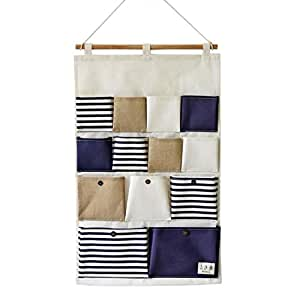 SFGHOUSE Wall Door Hanging Storage Bags Closet Hanging Organizer Storage Pockets Cotton Line Striped 13 Pockets