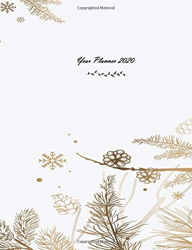 Year Planner 2020: Calendar Planner 12 Month for Organizer Agenda & Diary, Inspirational Quotes, Schedule, Notebook Journal, and Business White Winter Theme