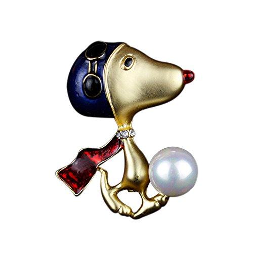 Fengteng Gold Farbe Hund Brosche mit Perlen Rot Farbe Schal Schwarz Brille und Blau Hut Hunde Pullover Schal Zubehör Tier Abzeichen Damen Broschen Geschenk