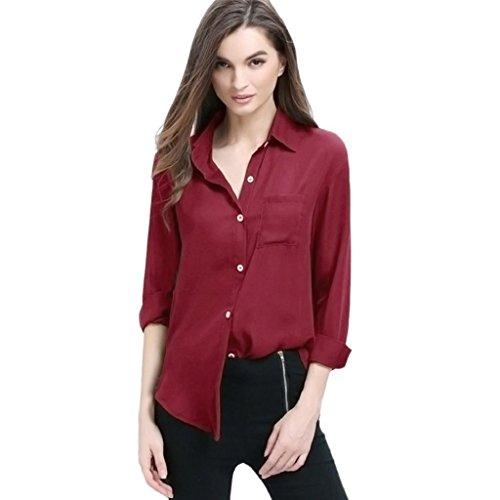3xl Wein (Damen T-Shirt Lonshell Übergroß Frauen Langarm Lose Bluse Freizeithemd Chiffon Tops (3XL, Wein))