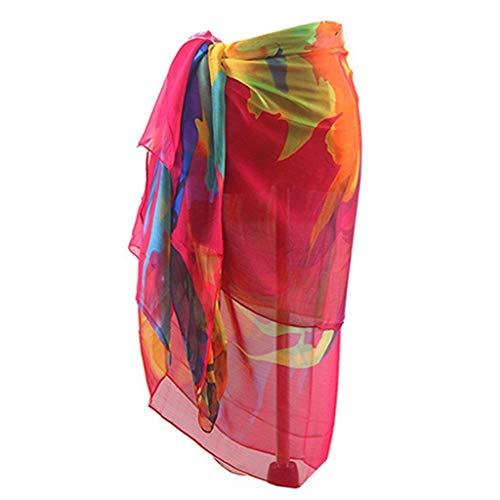 NseyuE Frauen Chiffon Beach Skirt, Böhmen Chiffon Bademode Pareo Schal Strand vertuschen Wrap Kaftan Sarong Printed (J) - Bademode Wrap