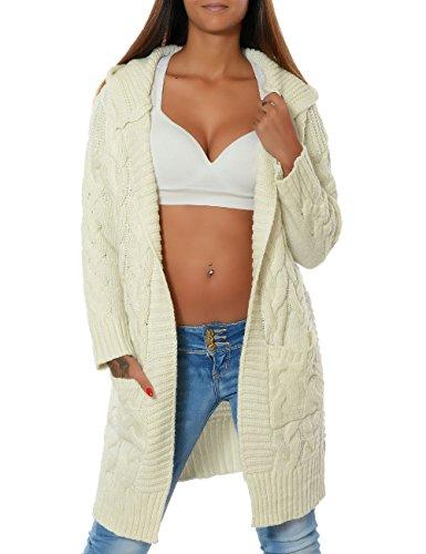 Damen Cardigan Strickjacke Mantel Langarm Pullover (weitere Farben) 15764, Farbe:Weiß, Größe:One Size (Strickjacke Zöpfe)