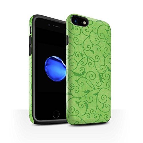 STUFF4 Glanz Harten Stoßfest Hülle / Case für Apple iPhone 8 / Orange Muster / Vine Blumenmuster Kollektion Grün
