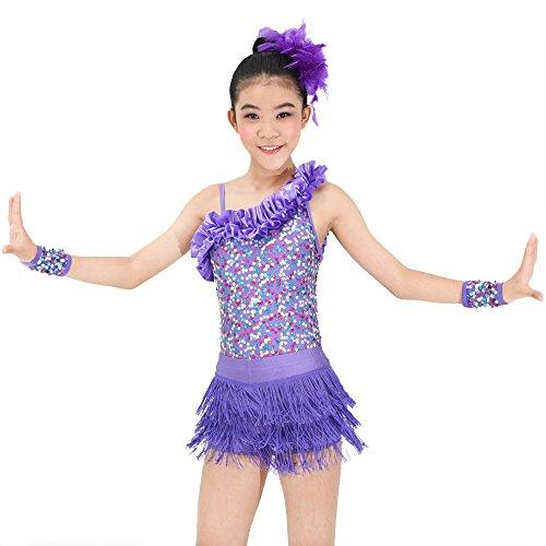 MiDee 2 stücken tanzen kostüm asymmetrischen highlow hals verstimmen trimed jazz latin kleider für die mädchen (XXSC, (Zwei Stück Jazz Dance Kostüme)