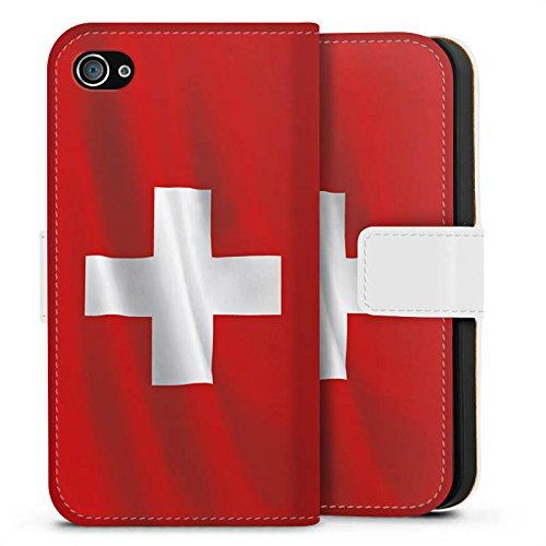 Apple iPhone X Silikon Hülle Case Schutzhülle Schweiz Flagge Switzerland Sideflip Tasche weiß