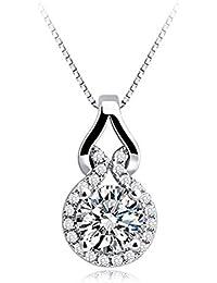 fa28c0341f21 Collar de plata de ley 925 Circonita Set Set de diamantes de todo chapado  en oro