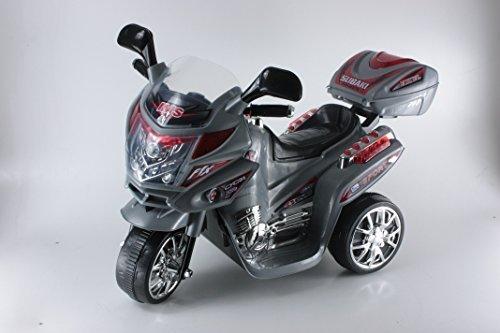 """MOTO ELETTRICA 6V VIP 3 RUOTE """"GRIGIO"""" Dim. Mont. 82x34x52,5 cm con bauletto luci e suoni"""