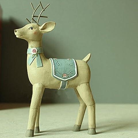 LQK-Cerf de résine mignon country américain ornements cadeaux pratiques créatives accessoires pour la maison , 10.8*4*17cm