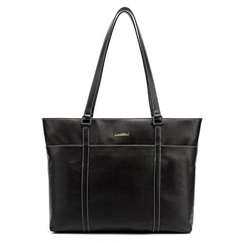CoolBELL Damen Handtasche Oberer-Griff Tasche 15,6 Zoll Laptop Tasche Leder Aktentasche Klassisch Umhängetasche (Schwarz) (Laptop Personalisierte Leder)
