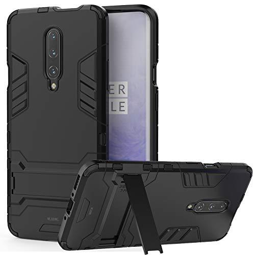 Layer-hybrid Fall (WLDDWL OnePlus 7 PRO Hülle, TPU Hartplastik Dual Layer Hybrid Bumper Ultra Stoßfeste Schutzhülle für OnePlus 7 PRO mit Ständer - Schwarz)