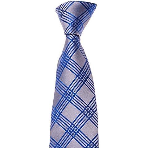 Mailando - Corbata para hombre Handmade cuadros plata gris – negro – dorado – azul – rojo