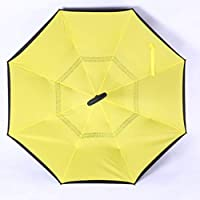 Oyamihin Hombres Mujeres Estilo de Negocios Automático Abierto Invertido Reversa Paraguas para automóviles A Prueba de Viento Doble Capa Paraguas de Apertura inversa - Amarillo