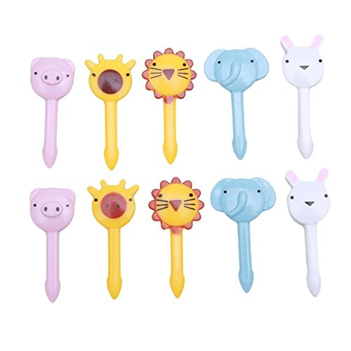 Lalang 10pcs Mini-Cartoon Zoo Tier Obst Gabel Salat Gabel Zahnstocher dekorative Plastik Gabeln Besteck-Set