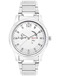 Lugano LG 1061 Silver Day & Date Metal Analog Watch For Men/Boys
