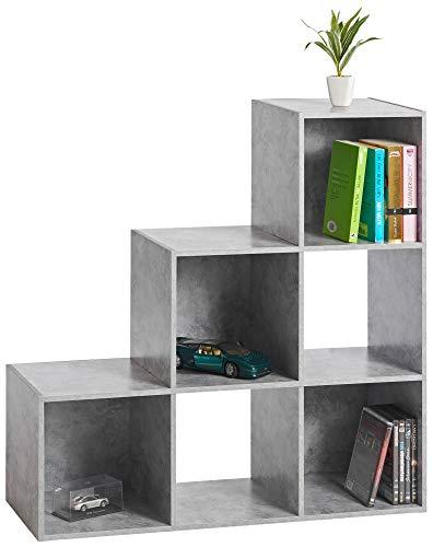 ts-ideen Libreria Mensoliera di design a L Grigio Cemento con 6 vani