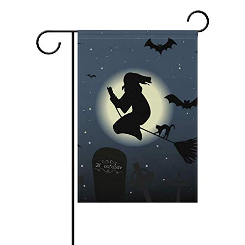 Dozili Flagge Happy Halloween Katze Magische Hexe Nacht Mond Dekoration Garten Flagge Wetterfest & doppelseitig Hofflagge, Polyester, bunt, 28