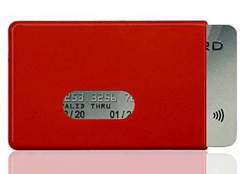 OPTEXX® RFID-Schutzhülle TÜV geprüft & zerifiziert Fred für Kreditkarte | EC-Karte | Personal-Ausweis aus Hart-Plastik-Hülle sicheres Blocking von Funk Chips (Rot 1x)