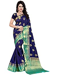 Nirja Creation Women's Navy Bllue Color Cotton silk Heavy Banarasi Saree