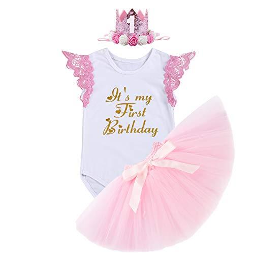 FYMNSI Baby Mädchen 1. Geburtstag Outfit Spitze Baumwolle Body Strampler Shirt + Rosa Tütü Rock + Krone Stirnband Prinzessin Partykleid Kleinkinder Es ist Mein erster Geburtstag Bekleidungsset Rosa (Halloween Erstes Tutu-outfit Mein)