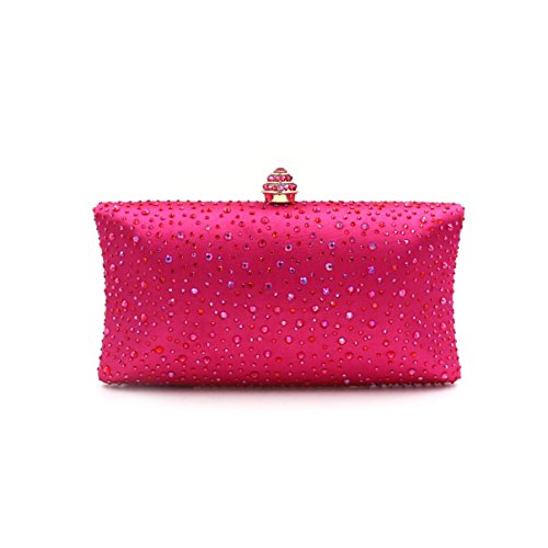WYB Europa LuxuxRhinestone Abendbeutel / Hand Diamant / full Diamant gehobenen Satin / Damen Tasche rose red