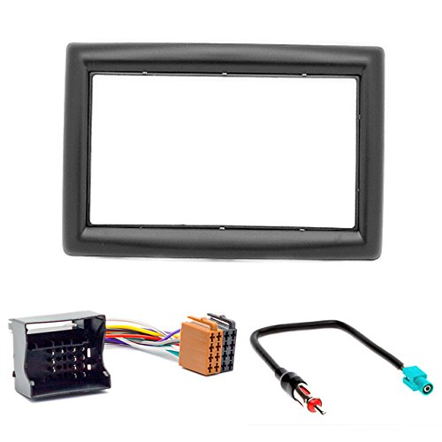 CARAV 11-151-27-7 Radioblende Car 2-DIN in Dash Installation kit Set for Renault Megane II 2002-2009 + ISO and Antenna Adapter Cable -