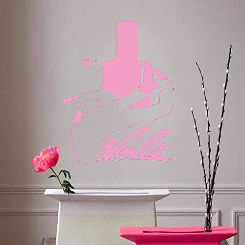 Nails Art Vinyl Wandaufkleber Beauty Salon Manicure Removeable Wall Decal Wohnzimmer Mädchen Schlafzimmer Dekor Pink 57x71cm