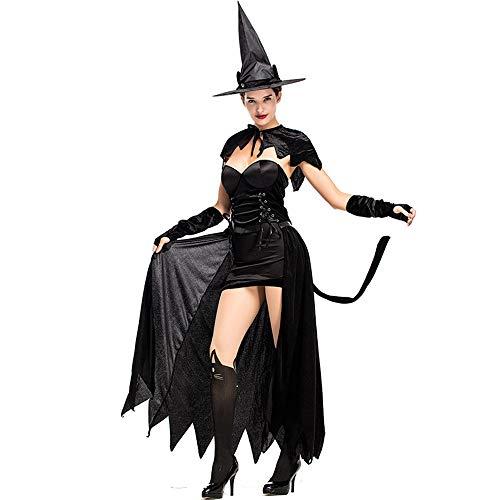 Divertente Costume da Halloween per streghe sexy gatti neri streghe - Abito senza spalline, scialle, guanti e cappello