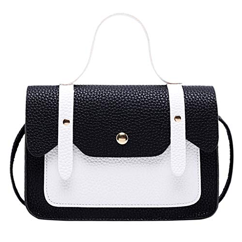 LILIGOD Umhängetasche Frauen Kontrastfarbe Handbag Schultertasche Münztasche Leder Rucksack Tragbar Messenger Bag Women Hasp Hit Color Shoulder Tasche Shopper Party Wedding Coin Phone Bag